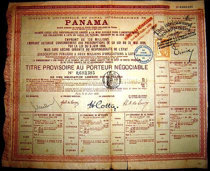 1888 – aandeel in het Panamakanaal