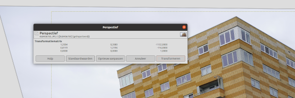 GIMP 2.10.18 - perspectiefgereedschap